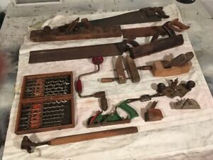 Antique planes and carpentry tools