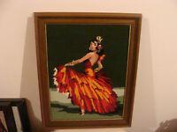tableau petits points, representant danseuse de flamenco
