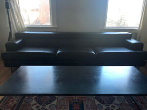 Large Authentic Divani Leather Couch from Italy