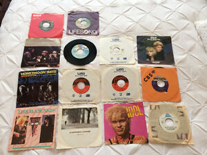 Assorted 1980's - 7 inch records (45 rpm vinyl) - 14 for $10 !!