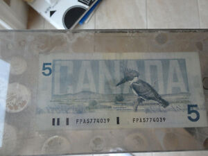 One of a Kind Collectible $5.00 bill stuck between Plexiglass Kitchener / Waterloo Kitchener Area image 3