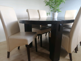 Mango solid dark wood dining table & 6 chairs