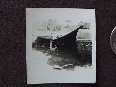 WW2 AMERICAN SOLDIER USING A TANK AS PART OF HIS TENT  Vtg 1940's PHOTO