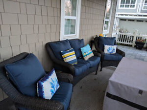 Wicker Look Patio Set with Love Seat and Chairs - Delivery avail