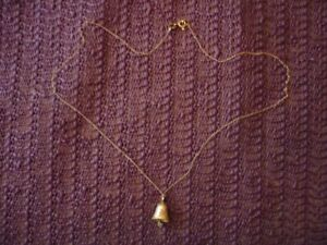 LADIES 10K GOLD NECKLACE WITH BELL and DIAMOND: J-17
