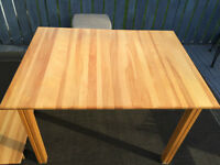 """MAPLE HARDWOOD KITCHEN TABLE WITH 12"""" INSERT 48(60)L""""x36W""""30""""H"""