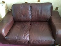Dfs two seater leather sofa mocha/brown