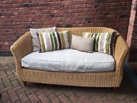 Cane Wicker Sofa complete with cushions.