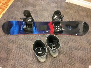 Planche à neige avec fixation et bottes