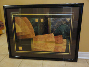 Large decorative black wooden framed abstract print wall hanging London Ontario image 4