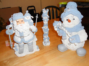 Ceramic Santa, snow man family and snow man with candy cane!!