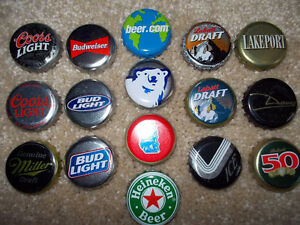 16 different beer bottle caps from the 80's/90's