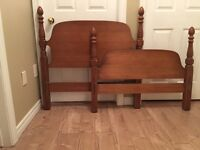 Solid wood head and footboard for single bed