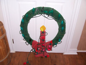 Vintage Light Up Wooden Christmas Wreath