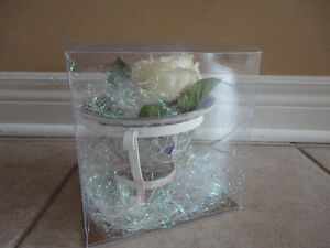 Brand new in box decorative cut glass container and metal stand London Ontario image 6