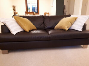 Brown Italian leather Natuzzi couch