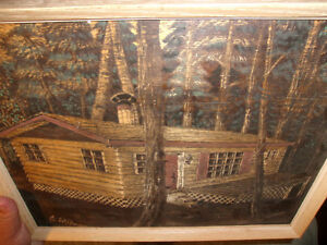 CABIN IN THE WOODS PYROGRAPHY PAINTING