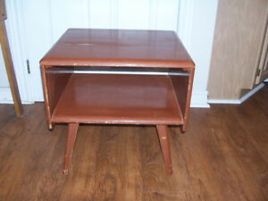 Vintage Hardwood Side Table 20 by 18 and 19 Tall Needs painting