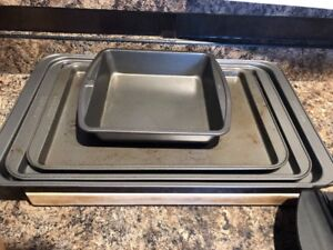 Cookie sheets and cake pan