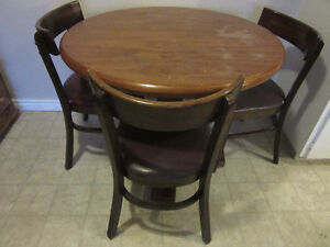 Wood kitchen table + chairs