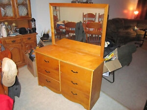 6 Drawer Dresser With Matching Mirror For Sale