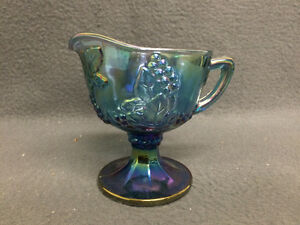 Collectible Antique Blue Carnival Glass Creamer