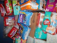 Lot of Diapers, Assorted Sizes and Brands