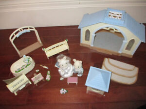 Calico Critters wedding chapel and reception