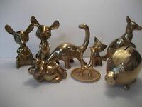 8 ANIMAL FIGURINES - Brass