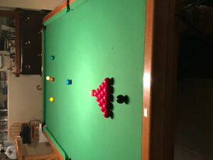 Dufferin 5 x 10 ft oak snooker table. Immaculate condition.