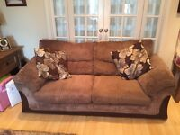 Three seater sofa X 2 and storage pouffe
