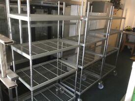 Industrial design storage shelves on wheels