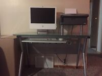 Glass desk and office chair $200.00 for both