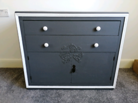 Grey & white Solid Oak sideboard cupboard cabinet chest of drawers