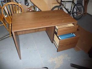 Solid student desk with two drawers