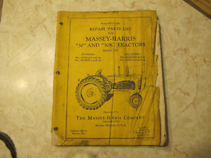 Massey Harris 30 & 30K Tractor Parts List Manual