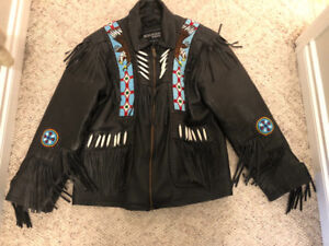 Mens Indian Beaded Leather Jacket