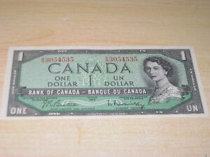 CANADIAN - 1954 - $1 - CRISP - ONE DOLLAR BILL - UNCIRCULATED
