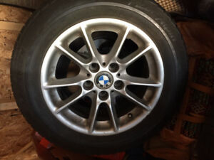 4 used tires - Michelin Pilot Alpin - 225/55/16 on BMW mags