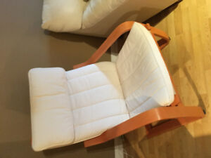 IKEA birch / white arm chair like new