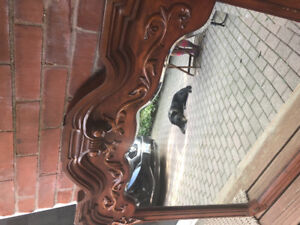 Beautiful Solid Hardwood hand carved bevelled mirror