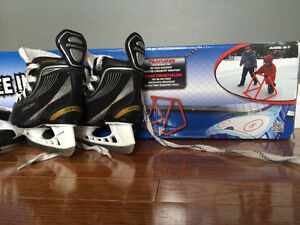 Youth Size 7 Bauer Skates + Ice Trainer
