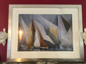 Large Sailboat Print in Silver Frame