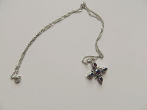 """Garnets & Sterling Silver .925 Pendant and Sterling Chain 22"""""""