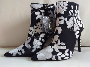 ZARA New with tags EMBROIDERED HIGH HEEL ANKLE BOOTS