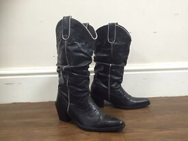 Ladies Black Leather Cow Girl Boots Size 5 New