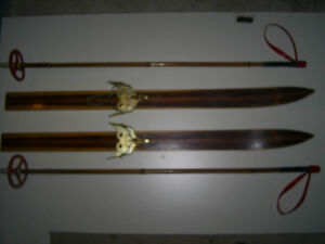 WOODEN SKIS w/BAMBOO POLES