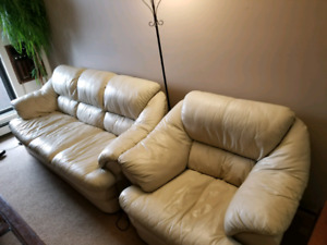 Living room leather couch set
