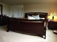 King size bed frame, box spring and mattress