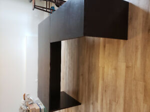 Large wood desk. Optional corner extension. Very sturdy.